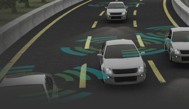 Autonomous cars on a road with visible connection - ADAS