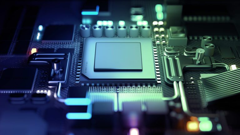 Future technology development with a CPU and microprocessors for machine learning. 3D render illustration.
